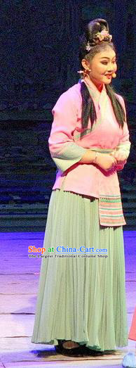 Chinese Historical Drama Ballast Stone Ancient Village Girl Garment Costumes Traditional Stage Show Actress Dress Three Kingdoms Period Young Lady Apparels and Headpieces