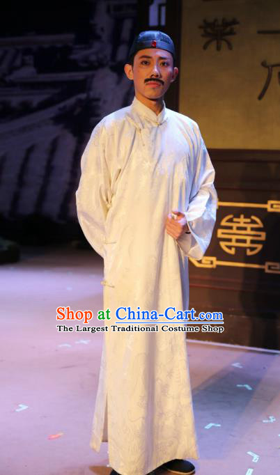 Chinese Traditional Qing Dynasty Merchant Xu Lingxiang Clothing Stage Performance Historical Drama Autumn Begins Apparels Costumes Ancient Shopkeeper Garment and Headwear