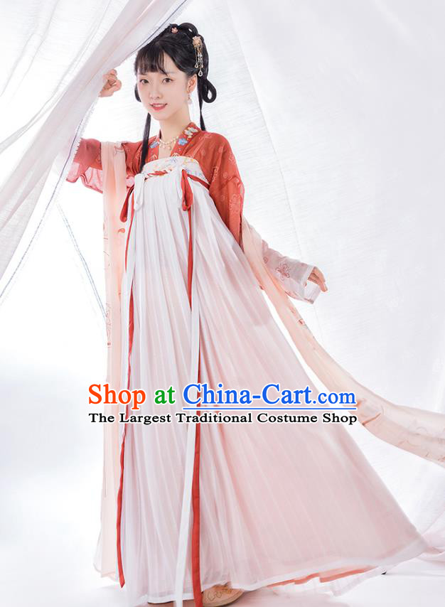 Top Chinese Traditional Tang Dynasty Noble Lady Hanfu Apparels Ancient Patrician Girl Historical Costumes Blouse and Slip Skirt Full Set