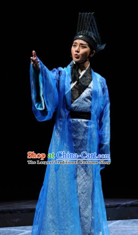 Chinese Traditional Han Dynasty Young Male Clothing Stage Performance Historical Drama Sima Qian Apparels Costumes Ancient Official Blue Garment and Headwear