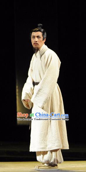 Chinese Traditional Han Dynasty Scholar Clothing Stage Performance Historical Drama Sima Qian Apparels Costumes Ancient Male Garment and Headwear