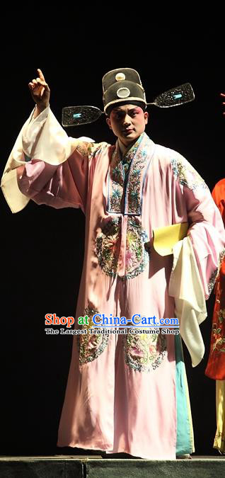 Cao Min Song Shijie Chinese Sichuan Opera Xiaosheng Apparels Costumes and Headpieces Peking Opera Highlights Young Male Garment Scholar Clothing