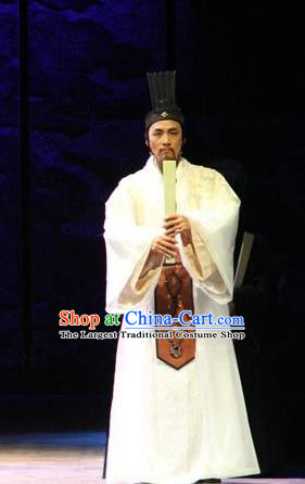 Chinese Traditional Han Dynasty Historian Official Clothing Stage Performance Historical Drama Sima Qian Apparels Costumes Ancient Litterateur Garment and Headwear