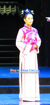 Chinese Historical Drama Yinzhan Naxi Ancient Young Female Garment Costumes Traditional Stage Show Dress Qing Dynasty Manchu Lady Apparels and Headpieces