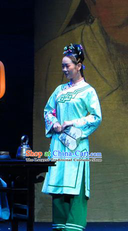 Chinese Historical Drama Yinzhan Naxi Ancient Servant Girl Garment Costumes Traditional Stage Show Dress Qing Dynasty Maid Lady Apparels and Headpieces