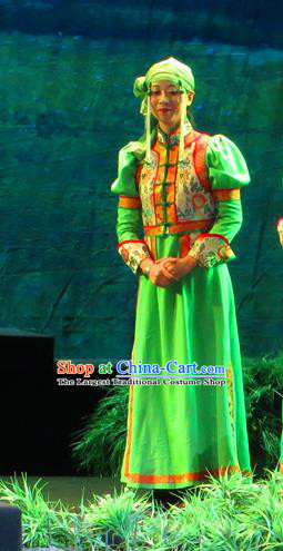 Chinese Historical Drama Yinzhan Naxi Ancient Mongolian Lady Garment Costumes Traditional Stage Show Dress Qing Dynasty Ethnic Female Apparels and Headpieces