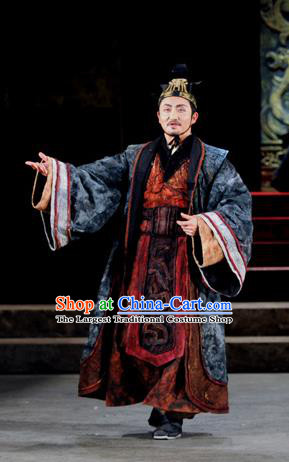 Chinese Traditional Qin Dynasty Chancellor Clothing Stage Performance Historical Drama Fu Sheng Apparels Costumes Ancient Prime Minister Li Si Garment and Headwear