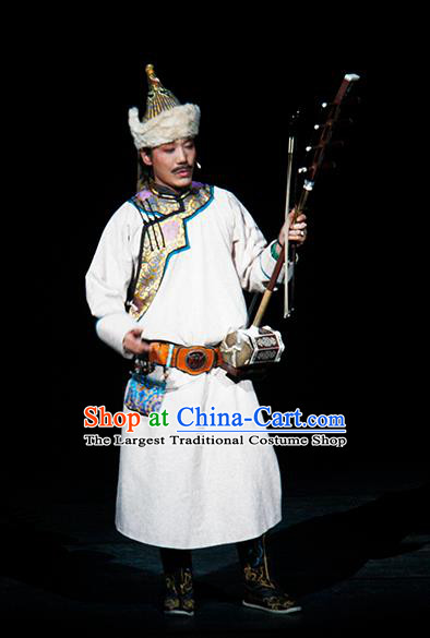 Chinese Traditional Qing Dynasty Mongolian Singer Clothing Stage Performance Historical Drama Yinzhan Naxi Apparels Costumes Ancient Ethnic Musician Garment and Headwear
