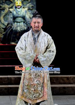 Chinese Traditional Qin Dynasty Scholar Clothing Stage Performance Historical Drama Fu Sheng Apparels Costumes Ancient Confucianist Garment and Headwear