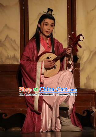 Chinese Traditional Jin Dynasty Young Male Clothing Stage Performance Historical Drama Guang Ling San Apparels Costumes Ancient Scholar Lv An Garment and Headwear