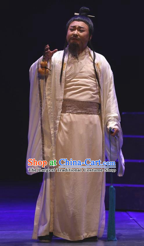 Chinese Traditional Jin Dynasty Gifted Male Clothing Stage Performance Historical Drama Guang Ling San Apparels Costumes Ancient Scholar Garment and Headwear