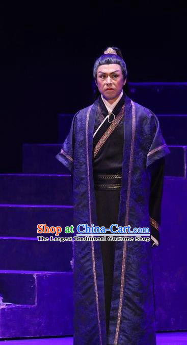Chinese Traditional Jin Dynasty Scholar Clothing Stage Performance Historical Drama Guang Ling San Apparels Costumes Ancient Distinguished Men Shan Tao Garment and Headwear