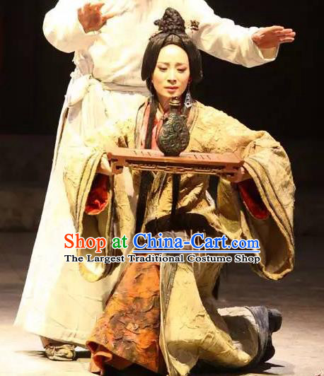 Chinese Historical Drama Fu Sheng Ancient Young Mistress Min Jiang Garment Costumes Traditional Stage Show Dress Qin Dynasty Woman Apparels and Headpieces