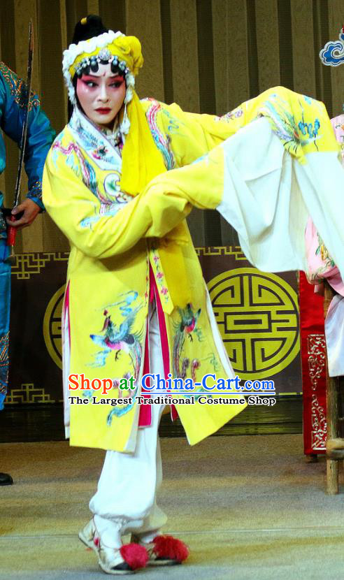 Chinese Sichuan Opera Highlights Actress Garment Costumes and Headdress Tie Long Mount Traditional Peking Opera Imperial Consort Du Dress Apparels