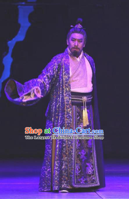 Chinese Traditional Jin Dynasty Official Clothing Stage Performance Historical Drama Guang Ling San Apparels Costumes Ancient Lord Garment and Headwear