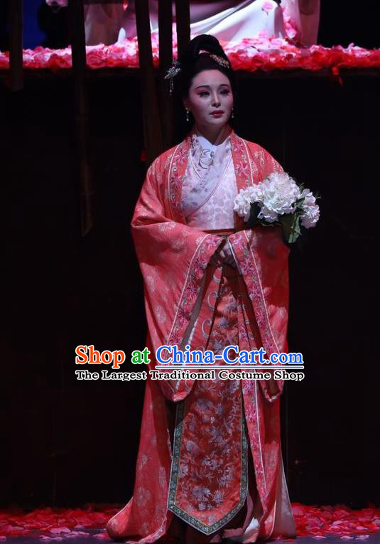 Chinese Historical Drama Guang Ling San Ancient Noble Madam Garment Costumes Traditional Stage Show Dress Jin Dynasty Young Mistress Apparels and Headpieces