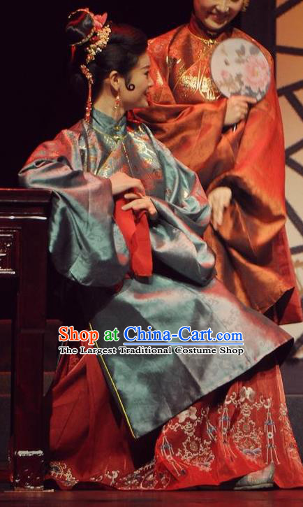 Chinese Historical Drama Peach Blossom Fan Ancient Procuress Garment Costumes Traditional Stage Show Dress Ming Dynasty Madam Apparels and Headpieces