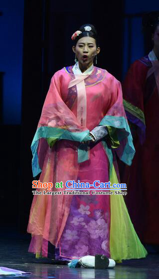 Chinese Historical Drama Empresses In Palace Ancient Imperial Concubine Rosy Garment Costumes Traditional Stage Show Dress Qing Dynasty Manchu Woman Apparels and Headpieces
