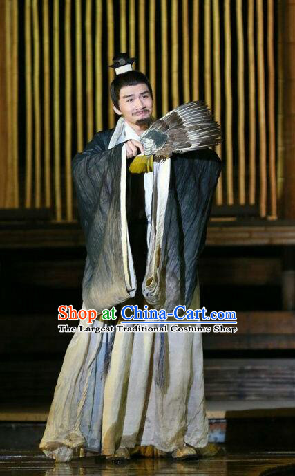Chinese Traditional Three Kingdoms Period Strategist Clothing Stage Performance Historical Drama The Legend of Zhuge Liang Apparels Costumes Ancient Adviser Garment and Headwear