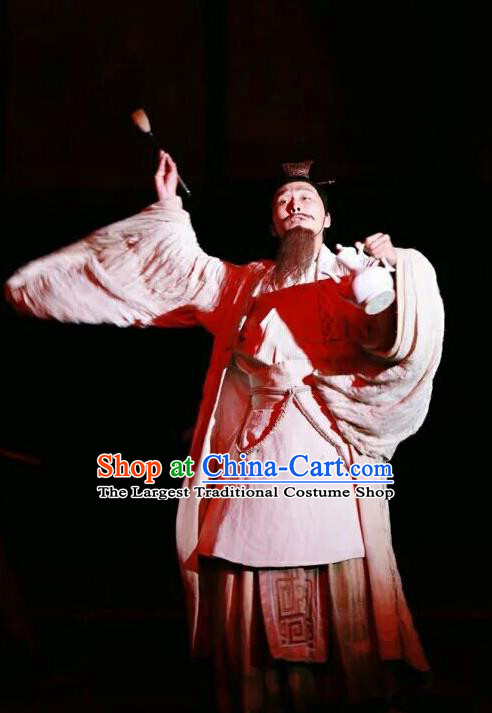 Chinese Traditional Three Kingdoms Period Strategist Clothing Stage Performance Historical Drama The Legend of Zhuge Liang Apparels Costumes Ancient Prime Minister Garment and Headwear