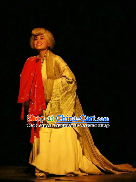 Chinese Historical Drama The Legend of Zhuge Liang Ancient Dame Garment Costumes Traditional Stage Show Dress Three Kingdoms Period Elderly Female Apparels and Headpieces