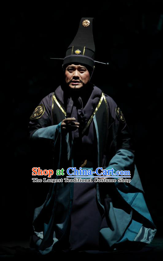 Chinese Traditional Spring and Autumn Period Official Clothing Stage Performance Historical Drama Yao Li And Qing Ji Apparels Costumes Ancient Minister Garment and Headwear