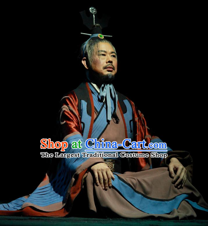 Chinese Traditional Spring and Autumn Period Strategist Clothing Stage Performance Historical Drama Yao Li And Qing Ji Apparels Costumes Ancient Hero Garment and Headwear