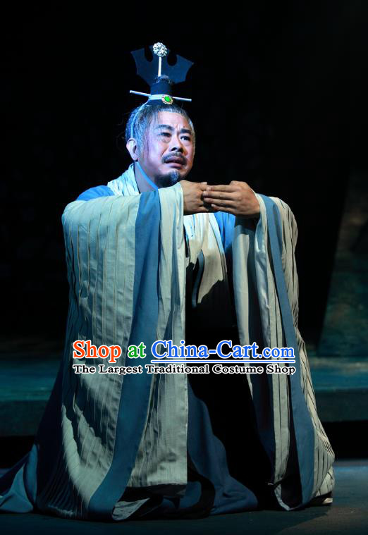 Chinese Traditional Spring and Autumn Period Prime Minister Clothing Stage Performance Historical Drama Yao Li And Qing Ji Apparels Costumes Ancient Elderly Male Garment and Headwear