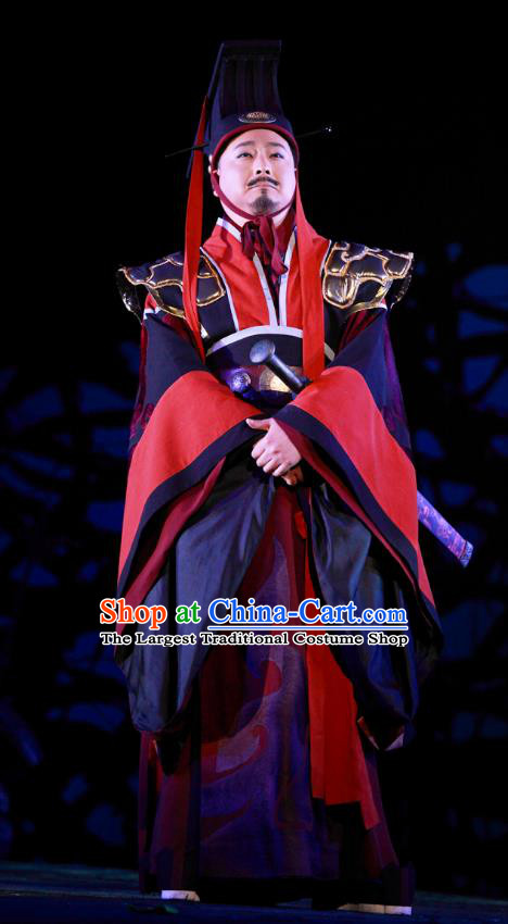 Chinese Traditional Spring and Autumn Period Monarch Clothing Stage Performance Historical Drama Yao Li And Qing Ji Apparels Costumes Ancient King Garment and Headwear