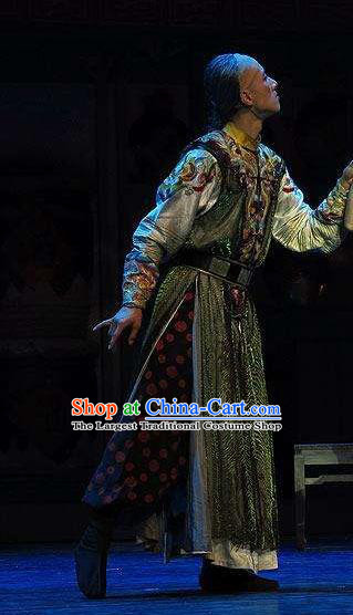 Chinese Traditional Qing Dynasty Eunuch Director Clothing Stage Performance Dance Drama The Summer Palace Apparels Costumes Ancient Elderly Male Garment and Headwear