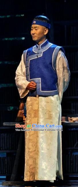 Chinese Traditional Qing Dynasty Scholar Tan Sitong Clothing Stage Performance Historical Drama Apparels Costumes Ancient Gentleman Garment and Headwear