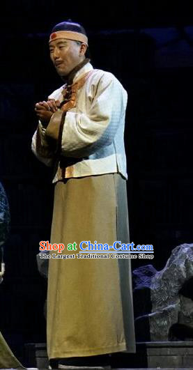 Chinese Traditional Qing Dynasty Scholar Yang Zichao Clothing Stage Performance Historical Drama Apparels Costumes Ancient Bookman Garment and Headwear