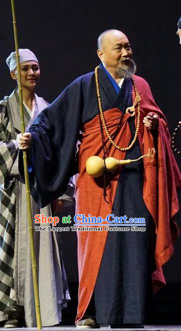 Chinese Traditional Buddhist Abbot Clothing Stage Performance Historical Drama Apparels Costumes Ancient Monk Bunyiu Nanjio Garment