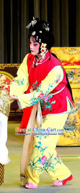 Chinese Sichuan Opera Highlights Xiaodan Garment Costumes and Headdress He Gong Huan Qing Traditional Peking Opera Servant Girl Dress Apparels