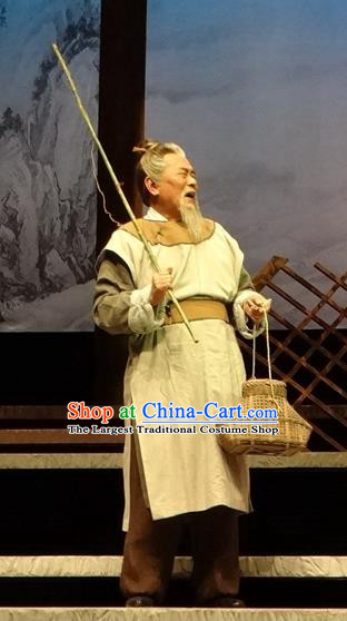 Chinese Traditional Song Dynasty Elderly Fisher Clothing Stage Performance Historical Drama Han Wengong Apparels Costumes Ancient Servant Garment and Headwear