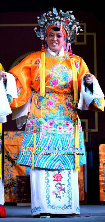 Chinese Sichuan Opera Highlights Countess Garment Costumes and Headdress He Gong Huan Qing Traditional Peking Opera Pantaloon Dress Empress Dowager Apparels