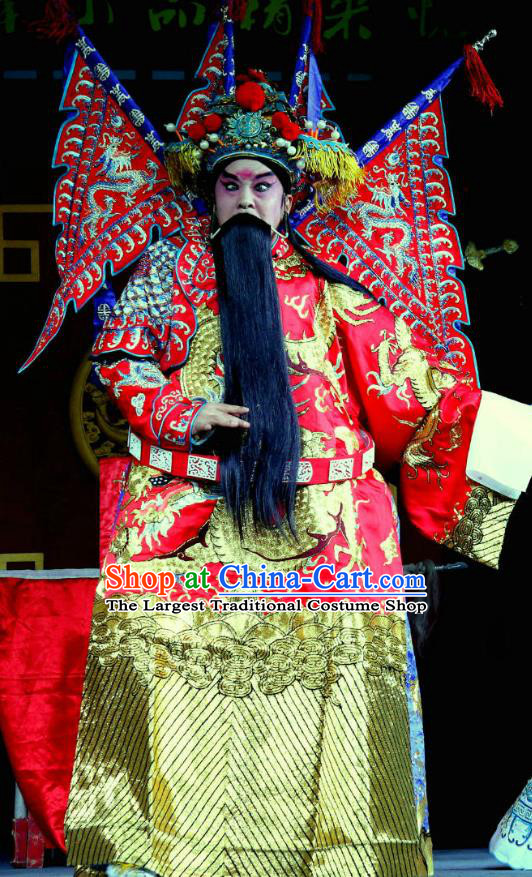 Yang He Tang Chinese Sichuan Opera General Xue Dingshan Kao Apparels Costumes and Headpieces Peking Opera Highlights Red Armor Garment Clothing with Flags