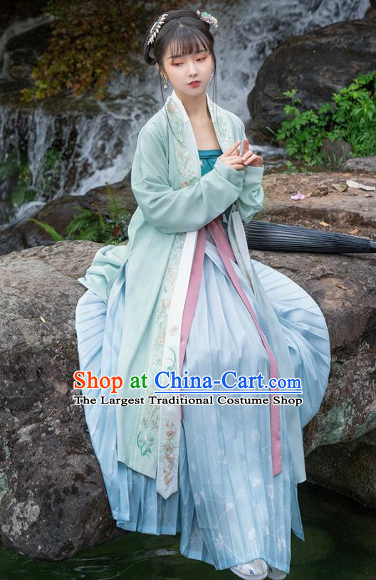 Traditional Chinese Song Dynasty Young Lady Hanfu Dress Apparels Ancient Village Girl Embroidered Long BeiZi and Skirt Historical Costumes Full Set