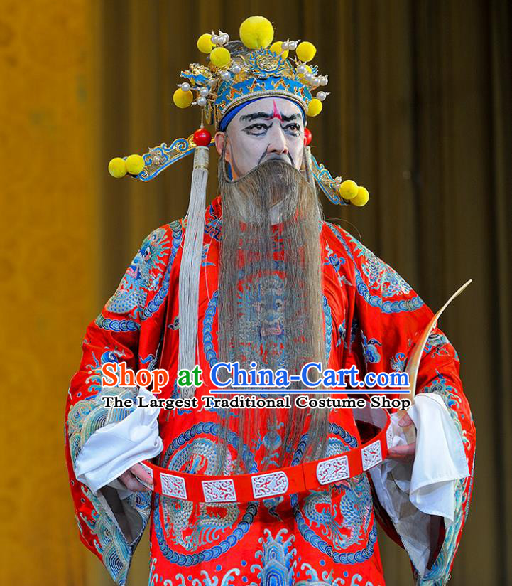Sui Chao Luan Chinese Sichuan Opera Official Yang Su Apparels Costumes and Headpieces Peking Opera Highlights Elderly Male Garment Prime Minister Clothing