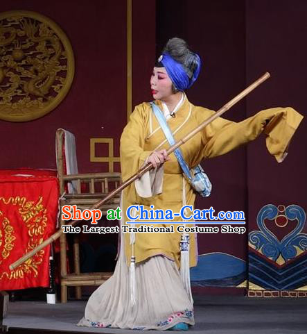 Chinese Sichuan Opera Highlights Pantaloon Garment Costumes and Headdress Chun Hua Zou Xue Traditional Peking Opera Dame Dress Elderly Female Servant Apparels