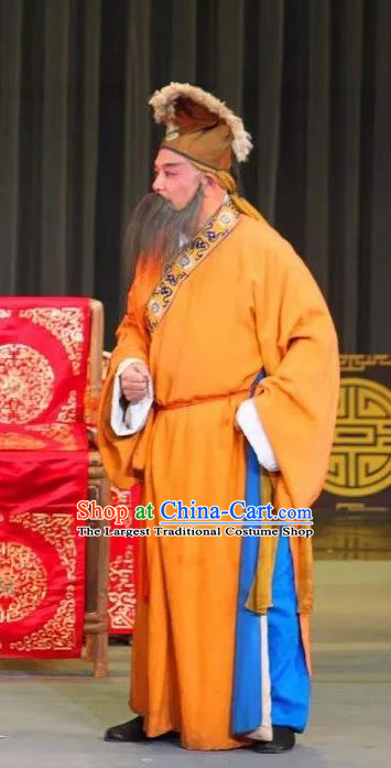 San Qiao Gua Hua Chinese Sichuan Opera Elderly Male Apparels Costumes and Headpieces Peking Opera Highlights Laosheng Garment Landlord Clothing
