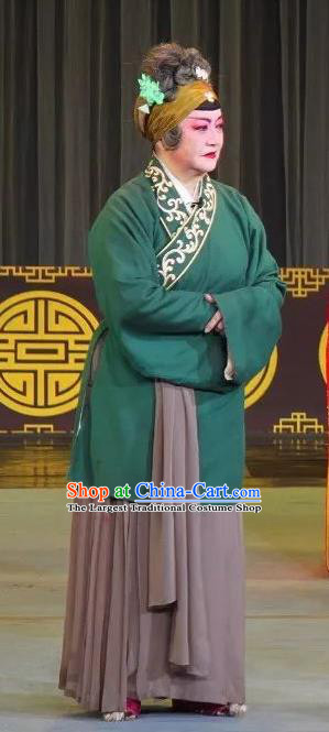 Chinese Sichuan Opera Highlights Garment Elderly Female Costumes and Headdress San Qiao Gua Hua Traditional Peking Opera Dame Dress Pantaloon Apparels