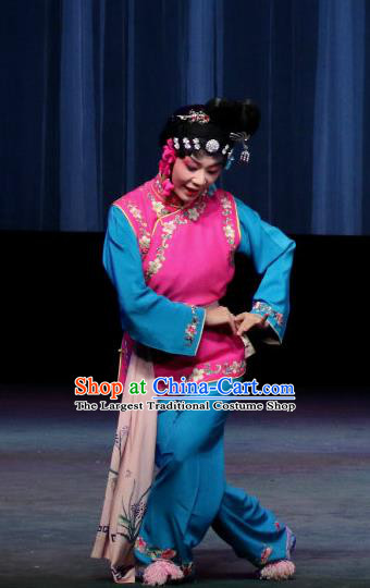 Chinese Sichuan Opera Highlights Maid Lady Garment Costumes and Headdress Traditional Peking Opera Xiaodan Dress Servant Girl Apparels