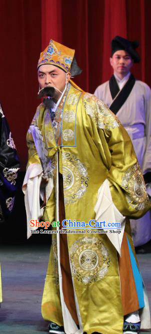 Chinese Sichuan Opera Elderly Male Apparels Costumes and Headpieces Peking Opera Highlights Old Man Garment Landlord Golden Clothing