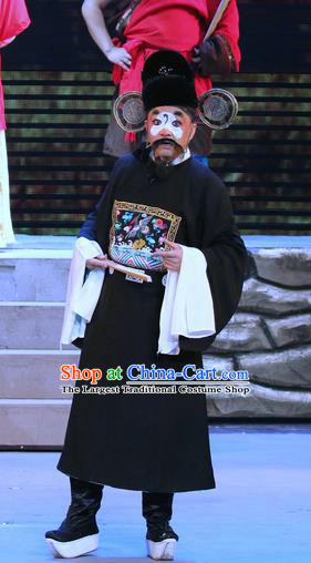 Fu Gui Rong Hua Chinese Sichuan Opera Clown Apparels Costumes and Headpieces Peking Opera Highlights Official Garment Magistrate Clothing