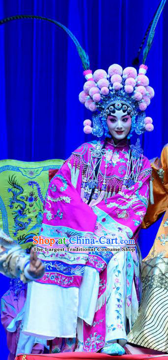 Chinese Sichuan Opera Highlights Hua Tan Garment Costumes and Headdress Bei Mang Mountain Traditional Peking Opera Actress Dress Imperial Consort Wei Apparels