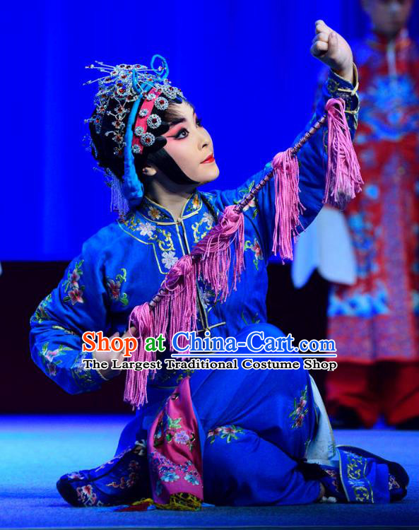 Chinese Sichuan Opera Highlights Martial Female Garment Costumes and Headdress Bei Mang Mountain Traditional Peking Opera Wudan Blue Dress Swordswoman Apparels