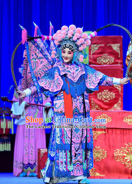 Chinese Sichuan Opera Highlights Tao Ma Tan Garment Costumes and Headdress Bei Mang Mountain Traditional Peking Opera Martial Female Dress Pink Kao Apparels with Flags