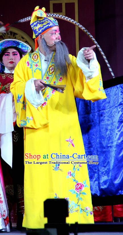 Bei Mang Mountain Chinese Sichuan Opera Elderly Male Apparels Costumes and Headpieces Peking Opera Highlights Emperor Garment Zhouxiang Lord Clothing