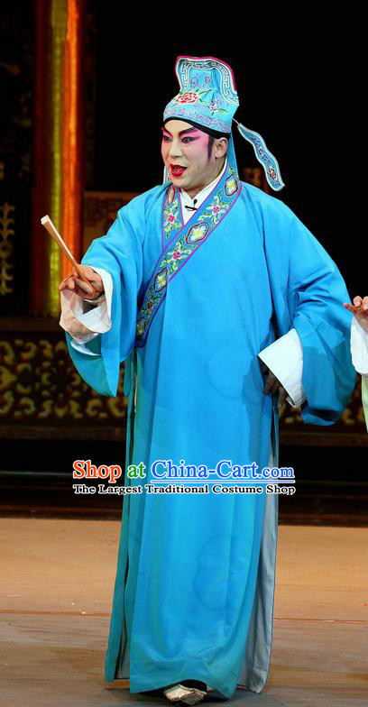 En Chou Ji Chinese Sichuan Opera Scholar Shi Zizhang Apparels Costumes and Headpieces Peking Opera Highlights Xiaosheng Garment Young Male Clothing